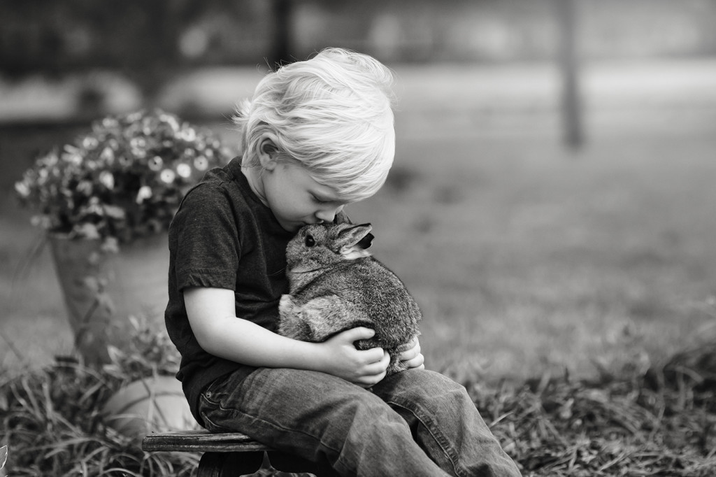 black and white image of three year old kissing bunny Raleigh Children's Photographer
